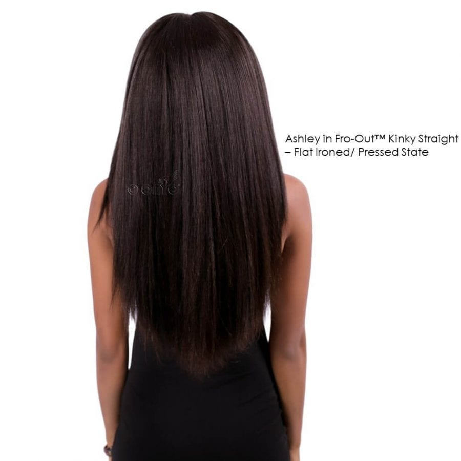 Ashley In ONYC Hair Fro Out™ Kinky Straight Blow Out Hair Pressed Back View