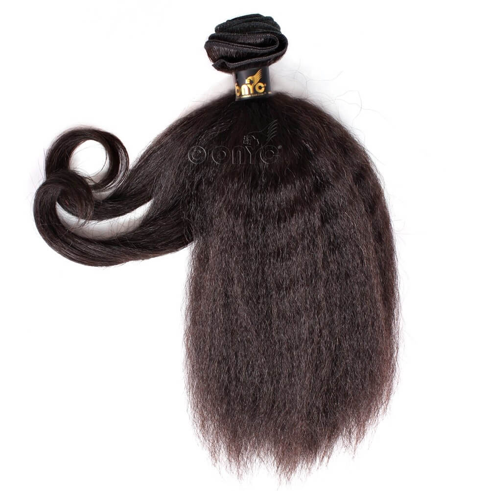 Kinky Straight Virgin Hair Weave Fro Out™ Kinky Straight Machine Weft Showing Curls