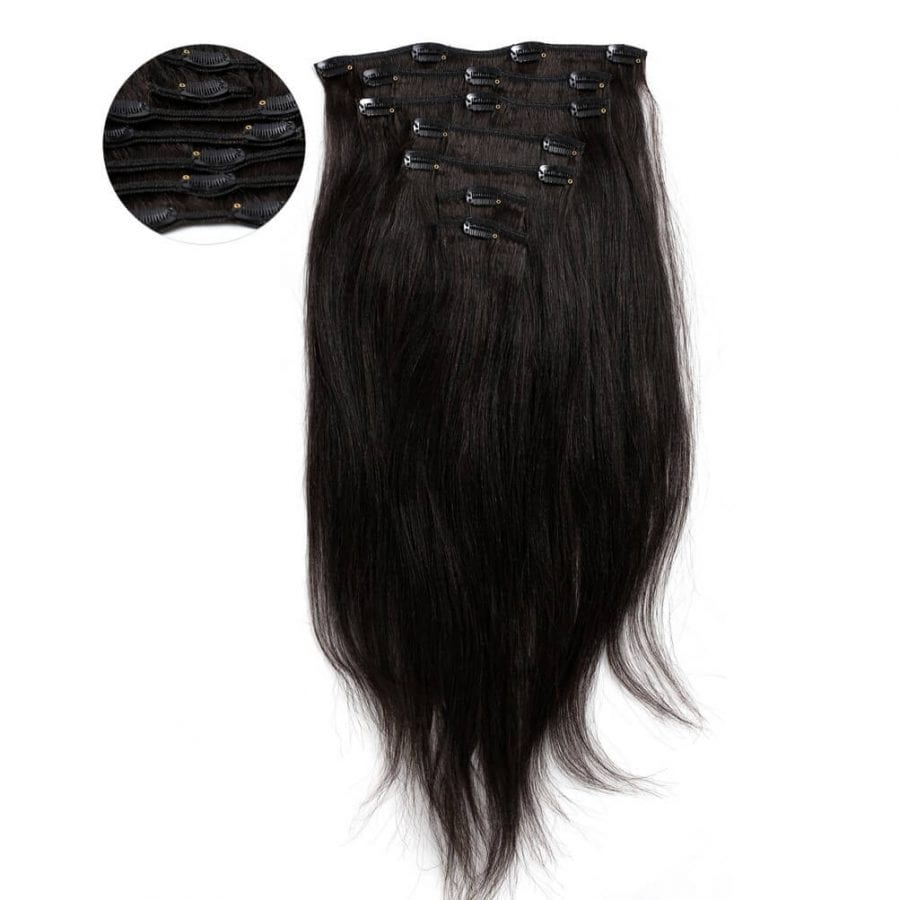 Relaxed Straight Clip In Hair Extensions 7 Piece Relaxed Perm Look ONYC 7 Piece Clip In Relaxed Perm Straight Hair