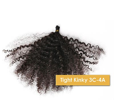 ONYC Tight Kinky 3c4a I Tip Hair Extension Natural Black Color