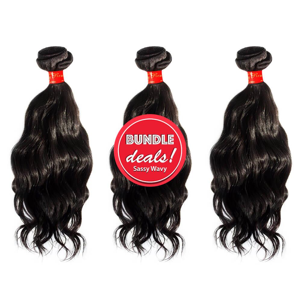 Remy Wavy Hair Bundle Deals Sassy Remy™ Wavy Hair Virgin Remy Wavy Bundle Deal