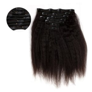 Kinky Straight Clip In Hair Extensions Virgin Hair Onyc 7 Piece Clip In Fro Out Kinky Straight Hair Feautured